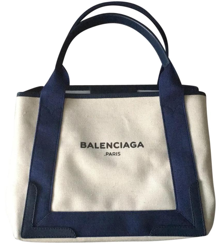 08c66eca5369 Balenciaga With Tag Cabas S Navy Trim Canvas Tote - Tradesy