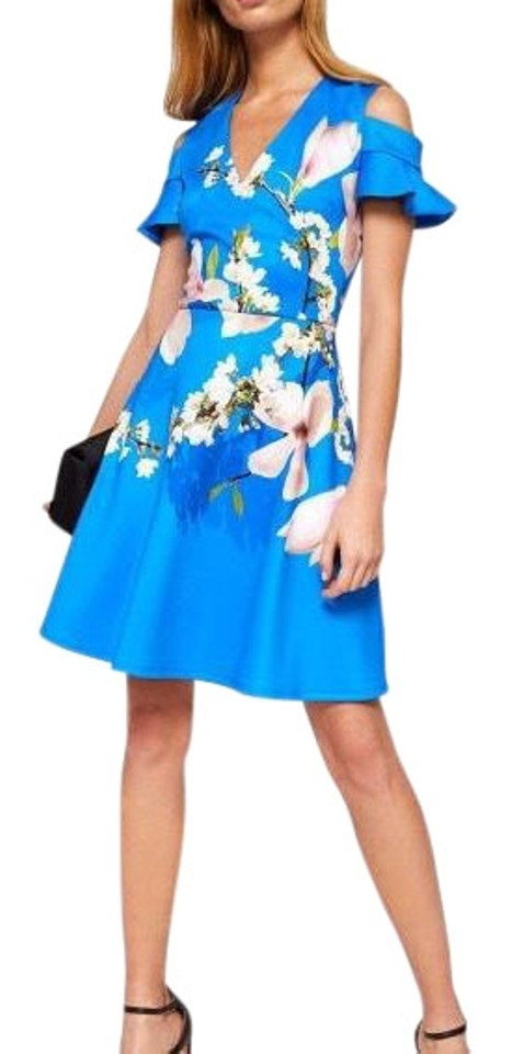 bad50ab5a Ted Baker Blue Ambre Harmony Cold Shoulder Mid-length Cocktail Dress ...