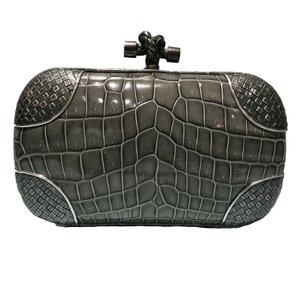 Bottega Veneta Made In Italy Intrecciato Silver Crocodile Leather Knot Luxury Designer Light Gray (Fume) Clutch
