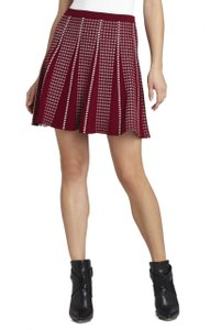 BCBGMAXAZRIA Sweater Piping Mini A Line Mini Skirt Red