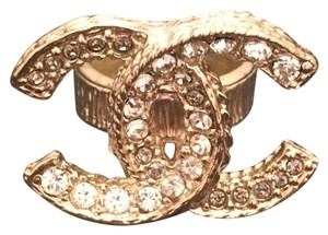 Chanel Chanel Big CC Logo Gold Ring with Crystals