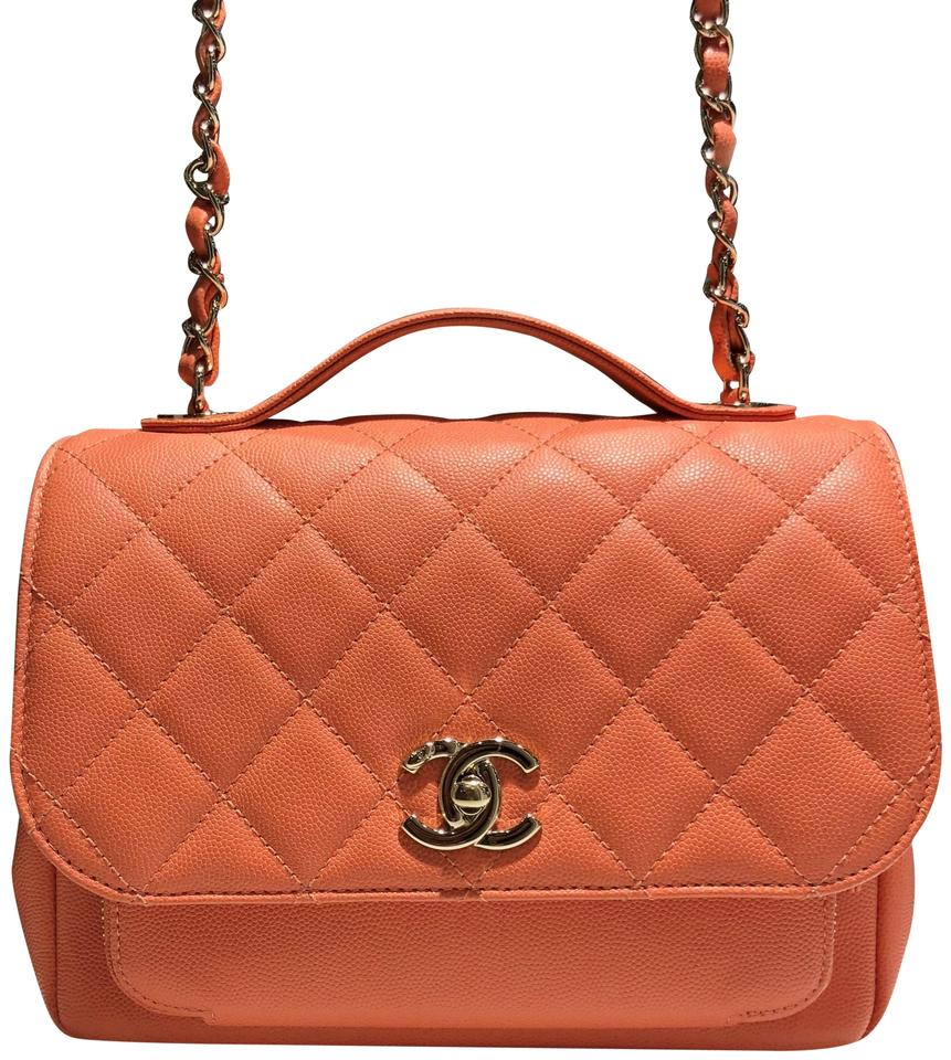 e8dcb37bd422 Chanel Classic Flap Caviar Small Business Affinity Top Handle Light Orange  Pink Coral Leather Cross Body Bag