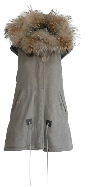 Item - Gray Real Racoon Fur Hood Fully Lined Vest Size 8 (M)