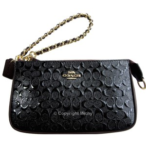 Coach Debossed Chain Leather Strap Patent Signature 19 Wristlet In Black Oxblood