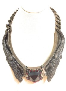 Roberto Cavalli Roberto Cavalli $1815.00 Crocodile & Swarovski Ruby Jewel Necklace New