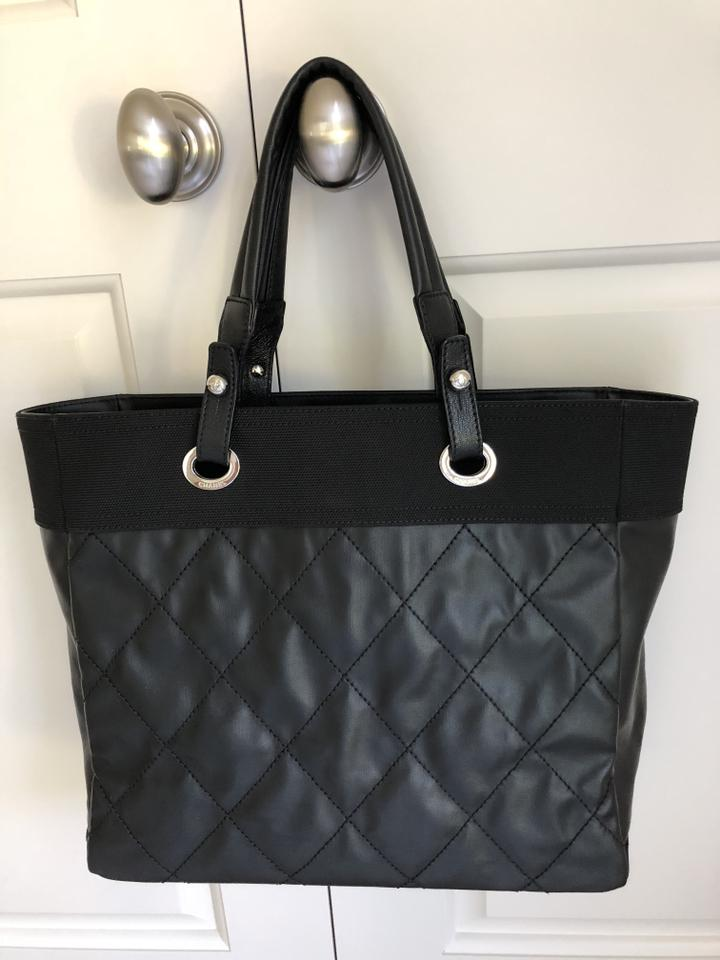 1eb8a062a0fc52 Chanel Biarritz Quilted Coated Black Leather and Canvas Tote - Tradesy