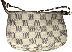 Louis Vuitton Pochette Damier Azur Mini Wristlet in White