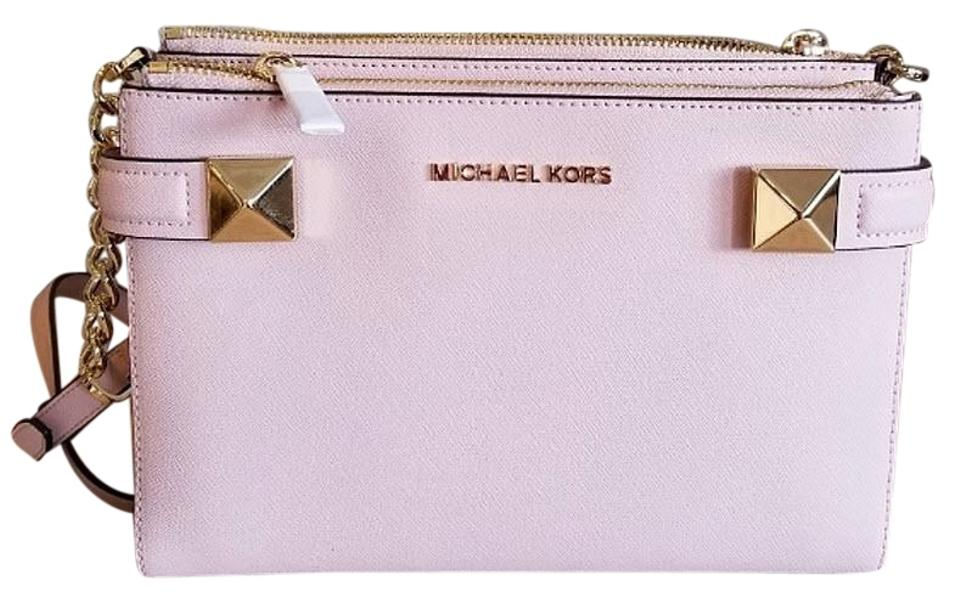 bd3e9c65c4ae Michael Kors East West Fulton Karla Pink Leather Cross Body Bag ...