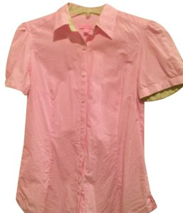 Lilly Pulitzer Button Down Shirt pink, white, green