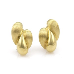 Henry Dunay Designs Textured Triple Tear Drop Post Clip 18k Yellow Gold Earrings