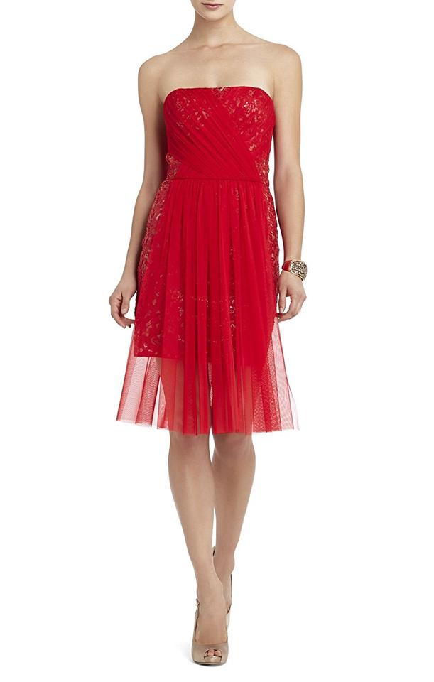 Bcbgmaxazria Red Sheer Sequin Mid Length Formal Dress Size 10 M