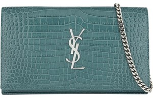 Saint Laurent Chain Croc Embossed Chain Wallet Shoulder Bag