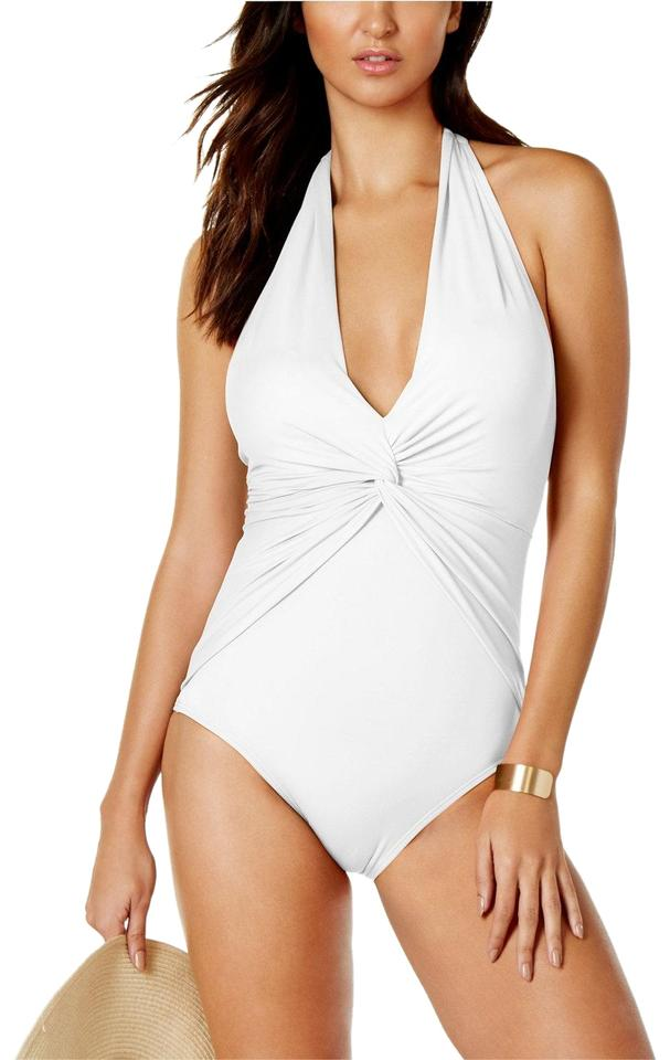 1cfbb6ccb36 MICHAEL Michael Kors White Draped Deep-v Plunge Twist-front Halter One-piece  Bathing Suit
