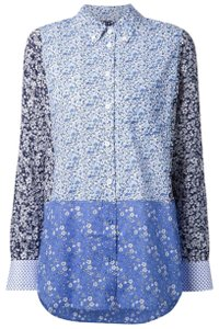 Equipment Floral Long Sleeve Calico Blouse Button Down Shirt blue