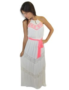 Ivory with Hot PInk Sash Maxi Dress by Flying Tomato
