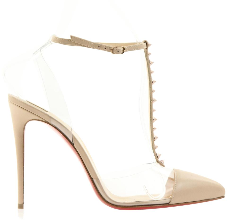 0ff954f6a30d Christian Louboutin Beige Nosy Spikes 100 Nappa Shiny Pvc Pumps Size ...