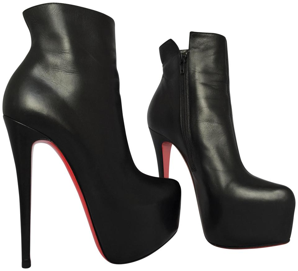 online store 3866b e995f Christian Louboutin Black Daffodile 40 It Leather Platform High Heel Lady  Zip Red Sole Daf Ankle Boots/Booties Size US 10 Regular (M, B)