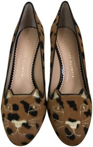 Charlotte Olympia Kitty Calf Hair Leopard Brown Pumps