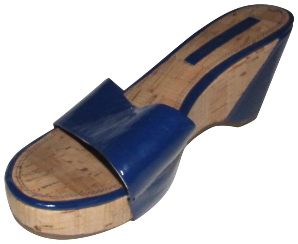 3ed01099073 Bandolino Cobalt Blue Patent Leather with Cork Wedge Heel New Shoes Designer  Sandals