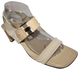 """Liz Claiborne Dressy Or Casual High End Boho Look & Unworn 3"""" Heel/Ankle Strap Leather taupe with gold buckles Sandals"""
