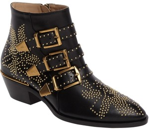Chloé Side Zip Black Leather Boots
