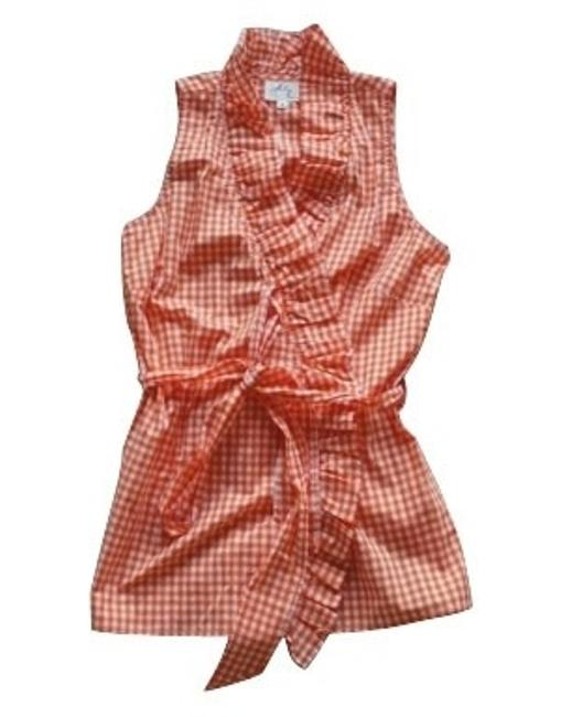 Preload https://item1.tradesy.com/images/milly-orange-and-white-check-button-down-top-size-6-s-235-0-0.jpg?width=400&height=650