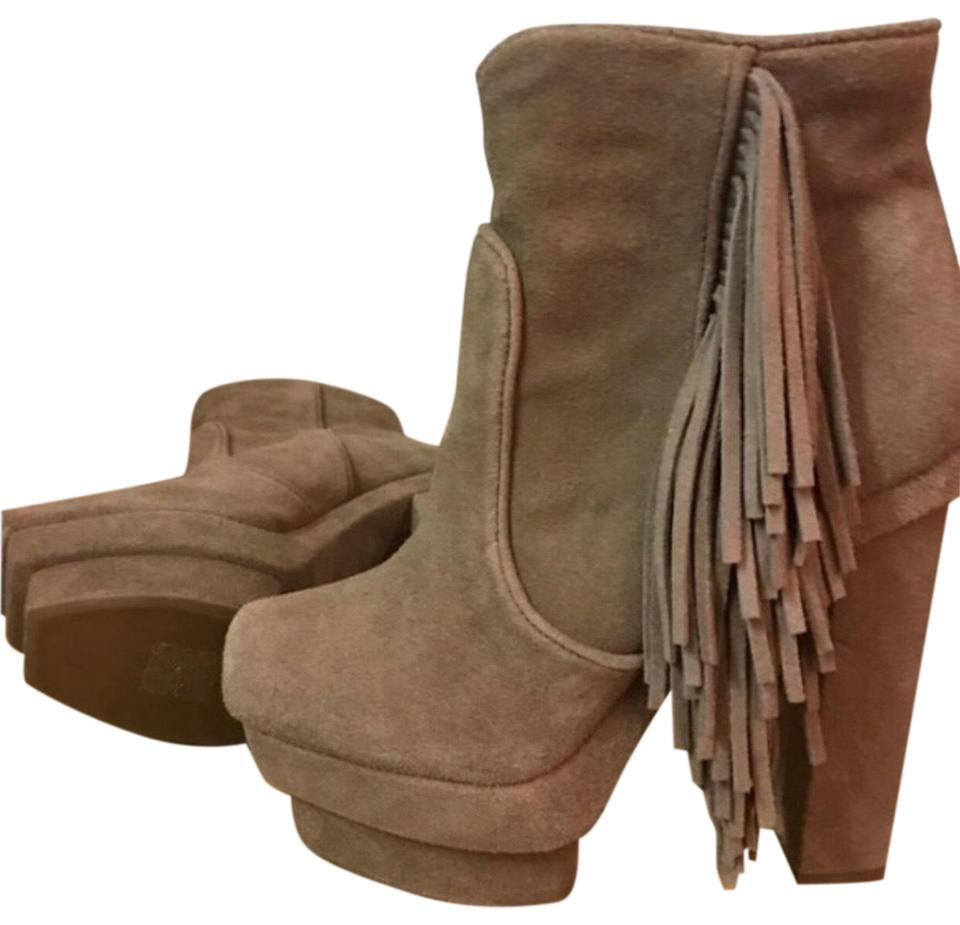 f0a95c67f497 Jeffrey Campbell Tan Fringed Platform Boots/Booties Size US 7.5 ...