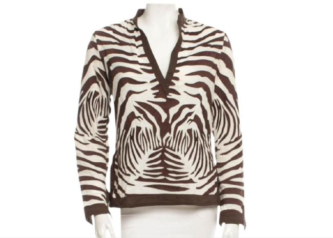 Item - Brown and White Tunic Size 4 (S)