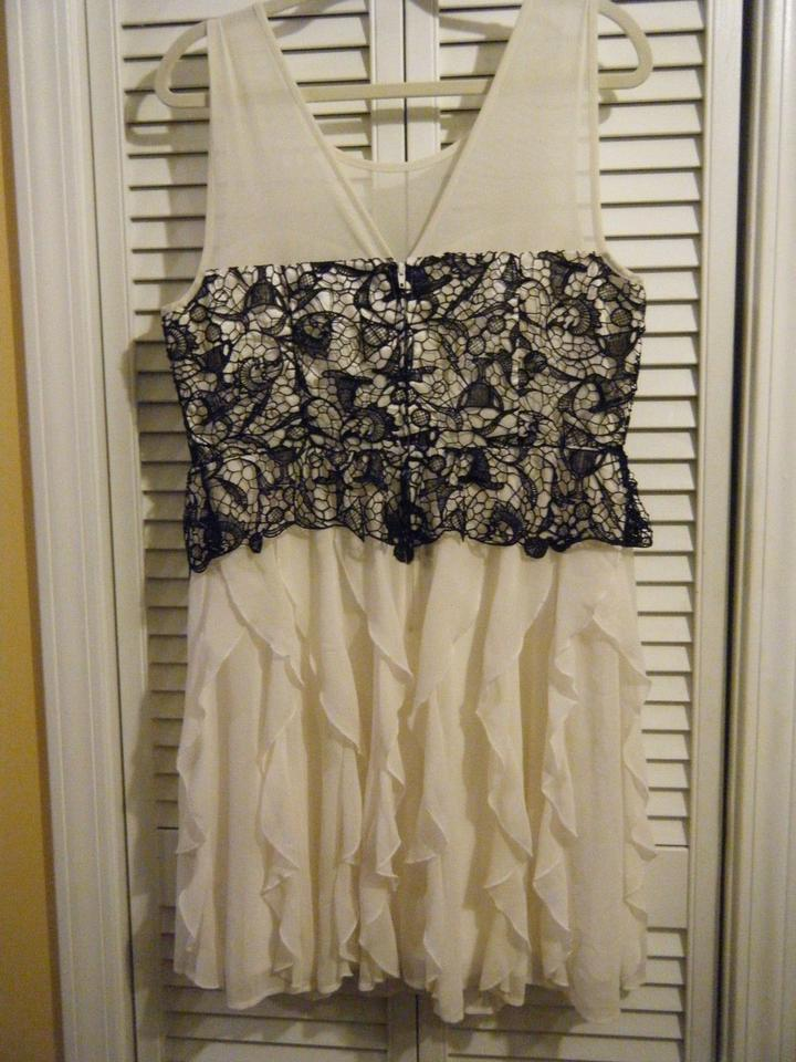 4095954014f Hot Topic White   Black Lace Ivory Ruffle Gown Short Cocktail Dress ...