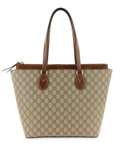 Gucci Gg Supreme Monogram Leather Canvas Brown Tote in Beige