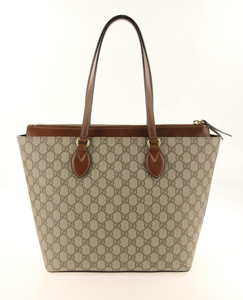 16bed93ba Gucci Gg Supreme Monogram Leather Canvas Brown Tote in Beige Image 11.  123456789101112