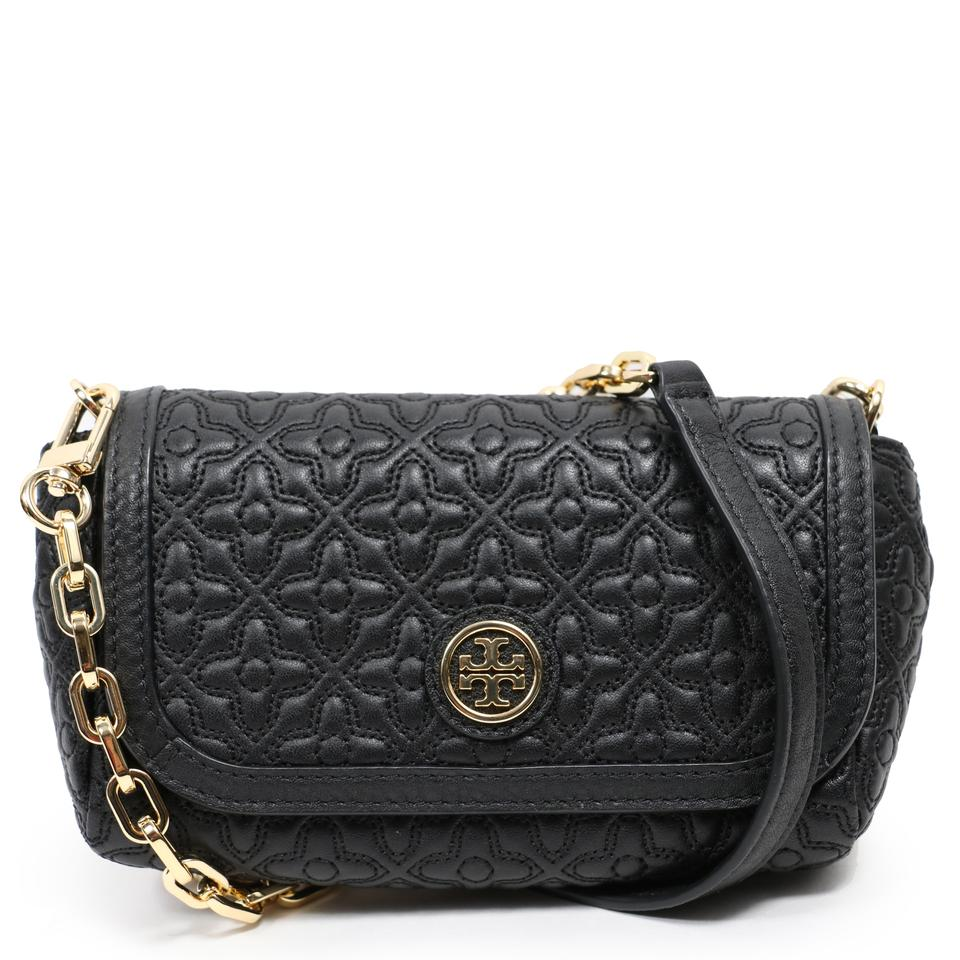 Tory Burch Bryant Quilted Small Handbag Black Leather
