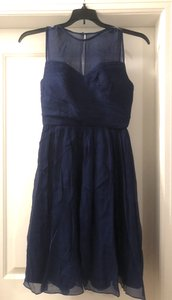 J.Crew Navy Blue Poly Sleeveless Knee Length Traditional Bridesmaid/Mob Dress Size 6 (S)