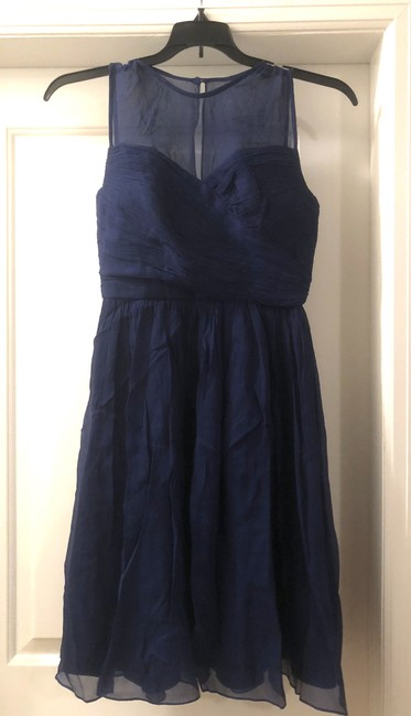 Item - Navy Blue Poly Sleeveless Knee Length Traditional Bridesmaid/Mob Dress Size 6 (S)