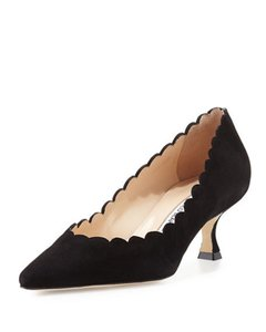 Manolo Blahnik Grey Black Suede Pumps