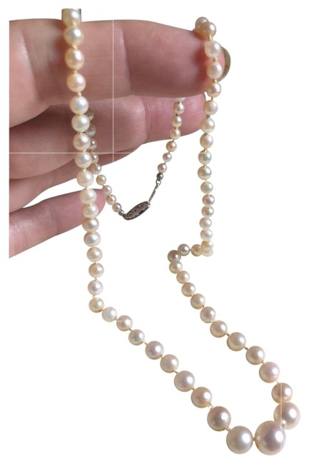 Item - White Gold Estate 10k Graduating Salt Water Pearls Necklace