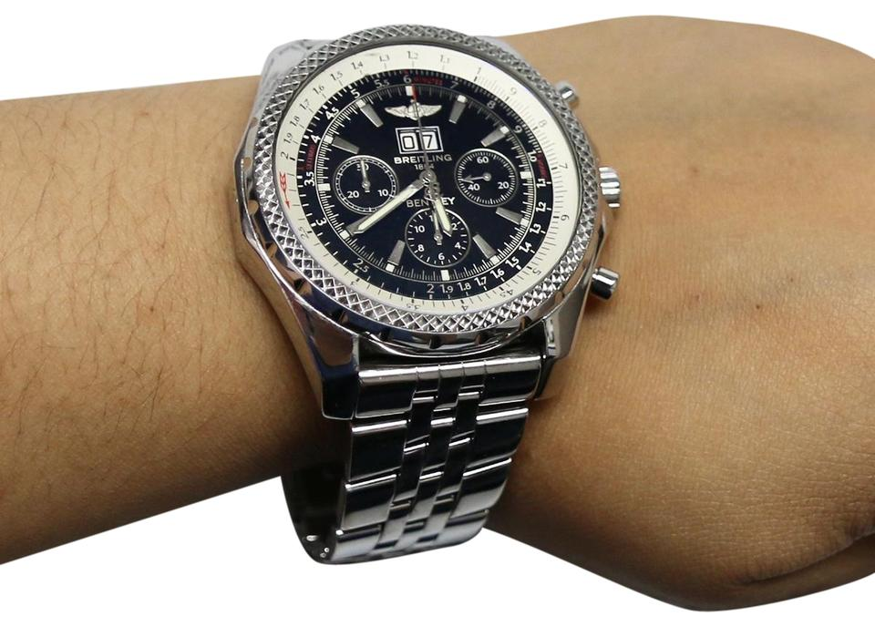 Breitling For Bentley >> Breitling Steel Bentley 6 75 Chronograph Black Index Dial 49mm A44362 Watch