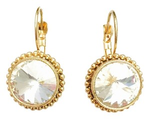 Crystal & Gold Round Drop Earrings