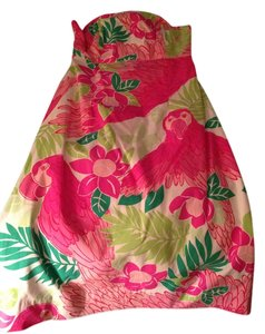 Lilly Pulitzer Cocktail Fun Full Skirt Size 6 Summer Pink Strapless Pink Strapless Pink Pattern Pink Green Pink A Line Dress