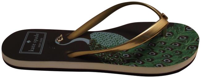Kate Spade Blue and Gold Peacock Flip Flop Sandals Size US 5 Regular (M, B) Kate Spade Blue and Gold Peacock Flip Flop Sandals Size US 5 Regular (M, B) Image 1