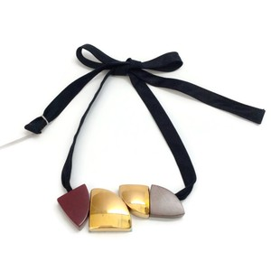 Marni Cotton Tie with Black Cherry Wood Necklace