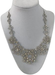 Kate Spade Nwt Kate Spade New York Crystal Silver Lace Collar Statement Necklace