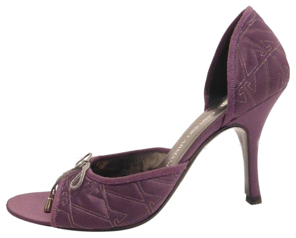 Giorgio Pumps Armani Purple Silk Peep-toe Logo D'orsay 9 It Pumps Giorgio 92f42b