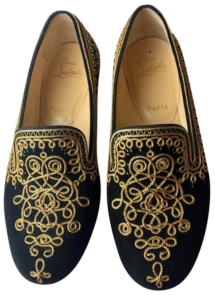 revendeur b2275 cb858 Christian Louboutin Black Gold Sakouette Maroc Suede Embroidered Loafers  Flats Size EU 37 (Approx. US 7) Regular (M, B) 62% off retail