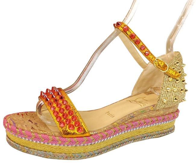 Item - Pink/Orange/Gold/Yellow/Multi-color Madmonica Leather Spikes Woven Espadrilles Sandals Wedges Size EU 38 (Approx. US 8) Regular (M, B)