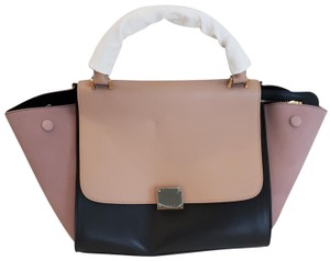 Céline Leather Sued Trendy Classic Satchel in Black, rose, and sand