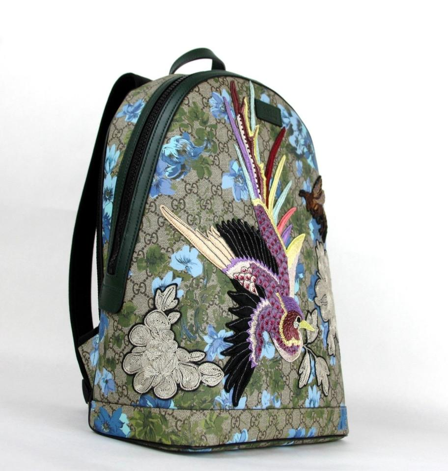 ae1b15752ab5 Gucci Floral W/Bird and Bee Patches 419584 8936 Blue Gg Supreme Canvas  Backpack - Tradesy
