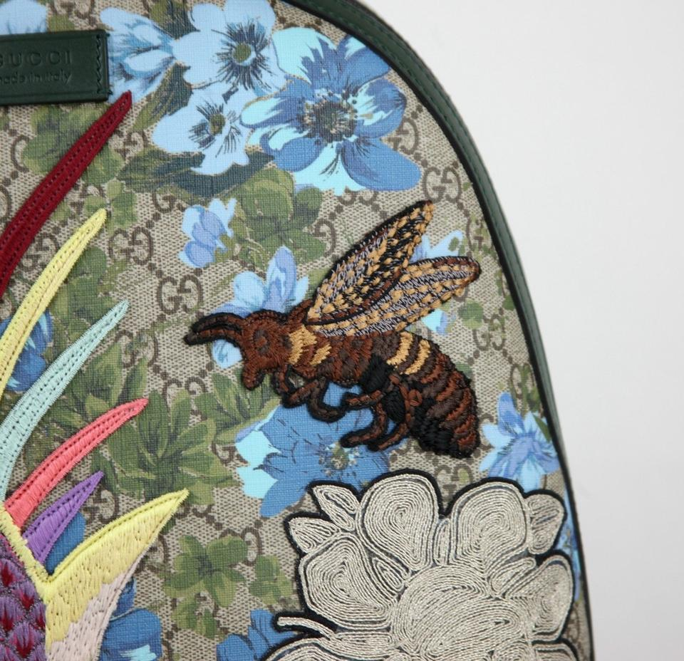5c9fdc4d2e50 Gucci Floral W/Bird and Bee Patches 419584 8936 Blue Gg Supreme ...