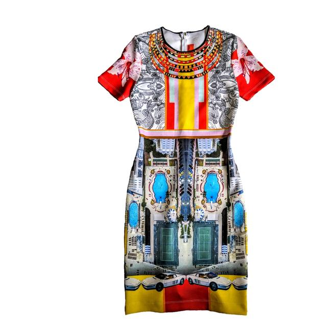 Item - Multi-color Neoprene Graphic Print Mid-length Night Out Dress Size 6 (S)