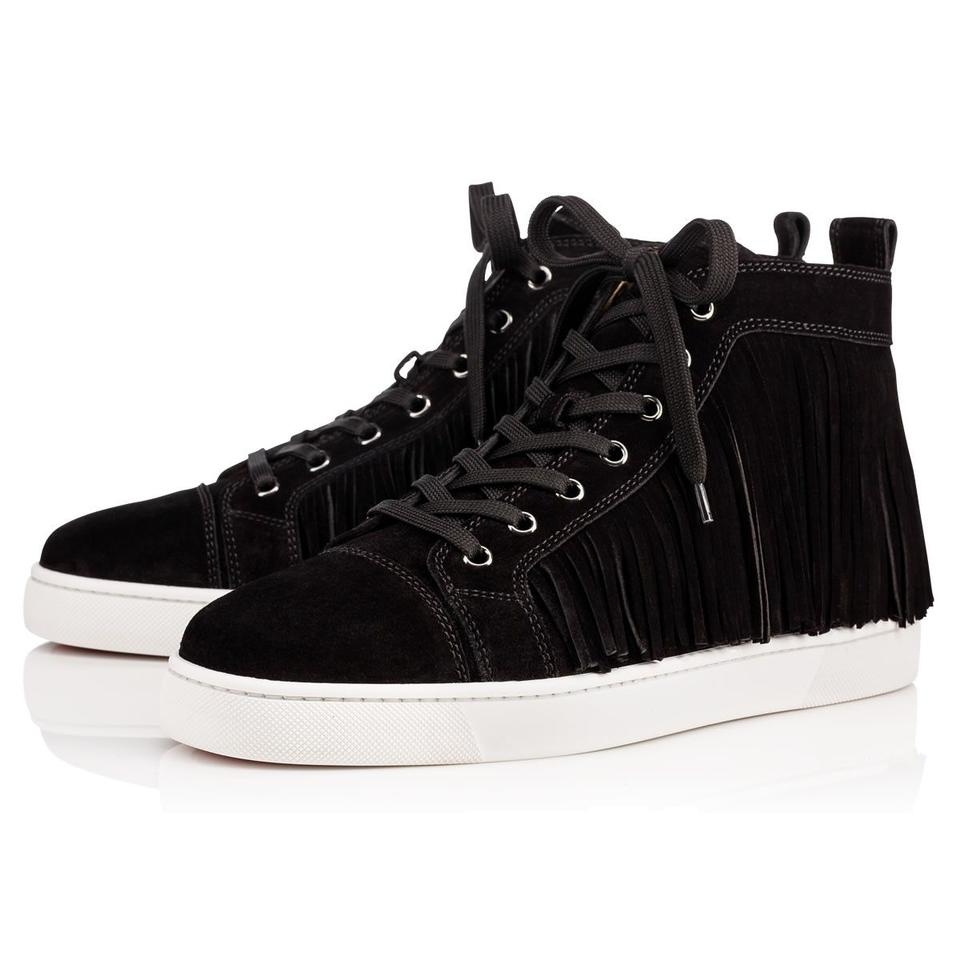 Black Suede Men's Sneakers Trainers Fringed Christian Louboutin Coachelito Leather Classic zYvwUv5aWn